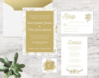 Printable Wedding Invitations, Gold Wedding Invitation Template - INSTANT DOWNLOAD