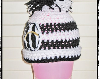 Baby girl CROCHET Hat model JUVENTUS Pompom baby crochet hat