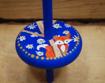 daisy fox drop spindle, handpainted and handcrafted