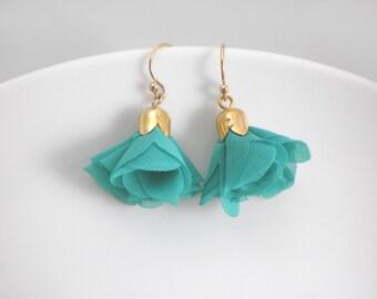 Mini tassel earrings, tassel dangle drop earrings, red earrings, teal earrings