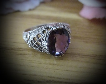 Faceted Natural AMETHYST Jeweled in Filigreed 925 Sterling Silver (Stamped) Ring, Size 7