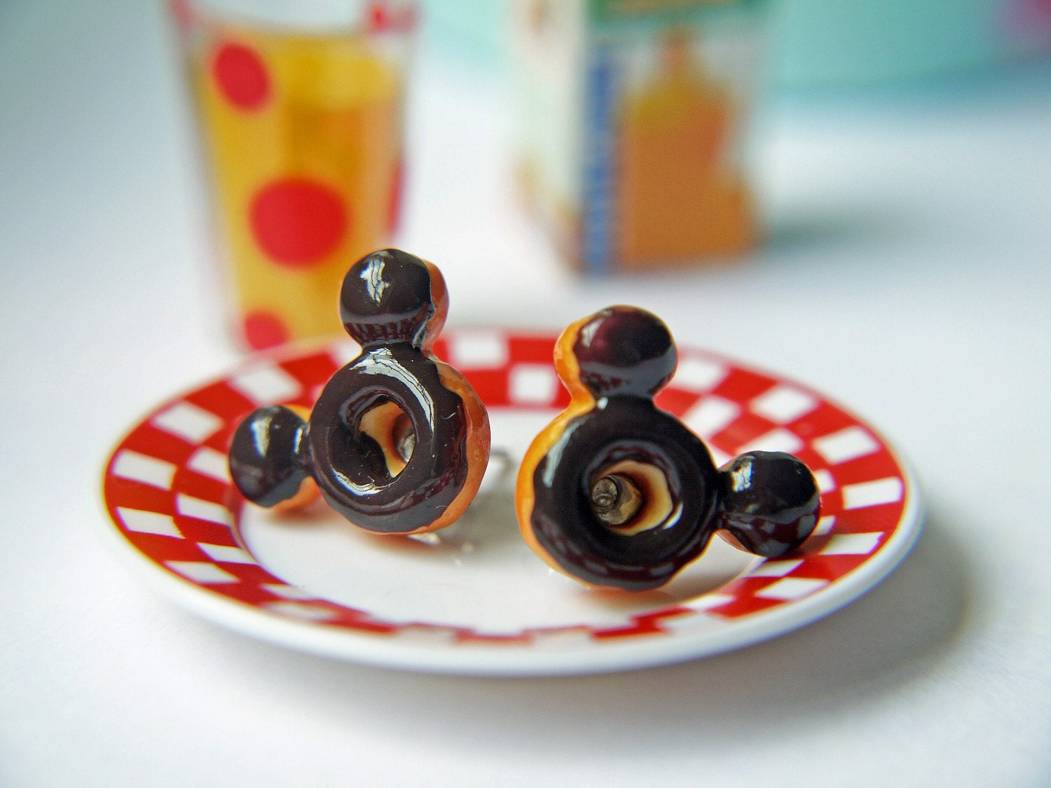 Mickey Mouse Doughnut Titanium Post Earrings Everyday Children