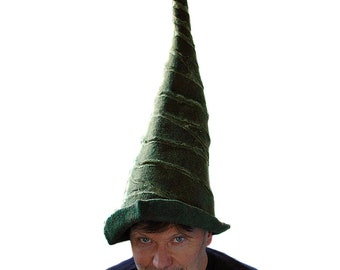 Pointed Forest Green Gnome Hat made of Felted Merino Wool Crazy Wizard Hat Extra Large Size Felted Hat Ready to Ship Unisex Festival Fashion