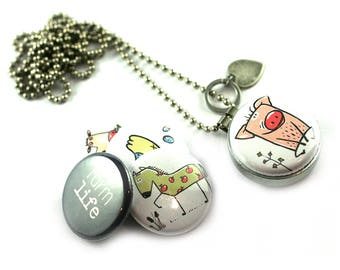 Farm Animal Locket Necklace • Pig Jewelry • Pig Locket • Cow Necklace • Horse • Chicken • Magnetic 5 in 1 Set • Recycled Steel • Polarity