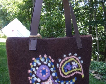 Felted handbag Paisley Embroidered Vegan Handles Dark Brown