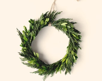 Natural home decor, minimalist wreath, Preserved wreath, Boxwood and cypress, Leaf wall hanging, Wedding decoration, preserved greenery