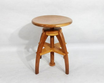 Adjustable Height Stool Solid Walnut and Oak
