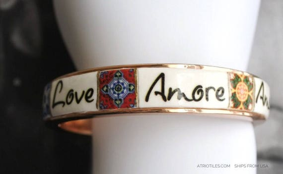 LOVE BRACEleT Amor Amour Amore Liebe αγάπη Portugal Tile German Greek Italian Portuguese French Italian  Ships from USA  Valentines Day