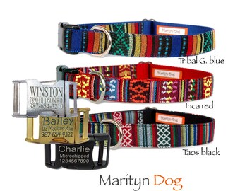 Personalized dog collar Pet ID tag Laser engraved buckle bohemian Aztec Tribal Boho embroidery pet collar Boy dog collar girl dog collar