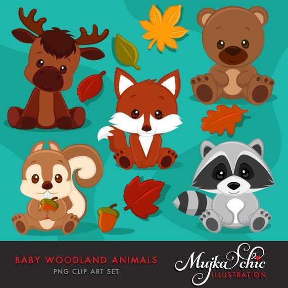 Baby Woodland Animals clipart. Baby fox Baby squirrel Baby