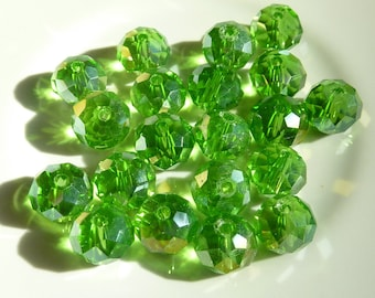 15 pearls 6mm iridescent green swarovski crystal
