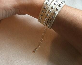 Studded faux leather lace bracelet