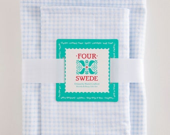 Blue Gingham Baby Blanket and Burp Cloth | Baby Blanket Set | Winter Baby Shower | New Baby Gifts | Baby Gifts Handmade | Baby Boy Gift Set