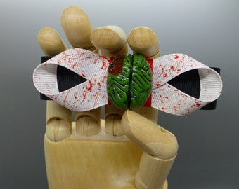 Blood Splattered Zombie Brain Barrette