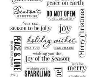 SALE Hero Arts Christmas Messages  Clear Stamp CM100; Holiday, New Year, Peace, Joy Season, Noel, Handmade, Sparkling