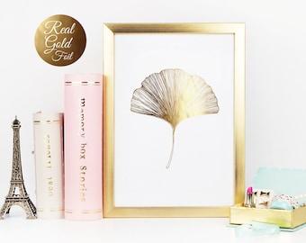 Ginkgo Leaf Print, Ginko Leaf Print, Wall Decor, Minimal Wall Art, Gold