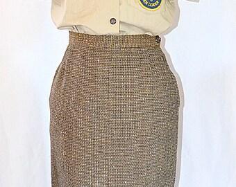 Vintage 1950s 1960s Brown and Tan Tweed Wool Pencil Skirt 26 Inch Waist