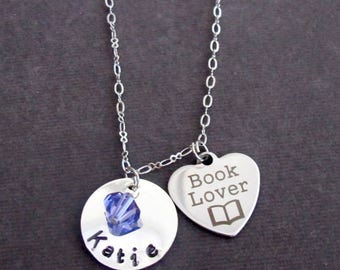 Personalized Book Lover Necklace,Gifts for Readers,Librarians Gifts,Name and Initial Necklace,Book Necklace, Gift for Her, Free Shipping USA