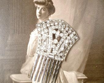 ORIGINAL Art Deco Pave Rhinestone Fan Bridal Headpiece, Antique 1920 Wedding Dress Clip to Hair Accessories Wedding Hair Comb Small