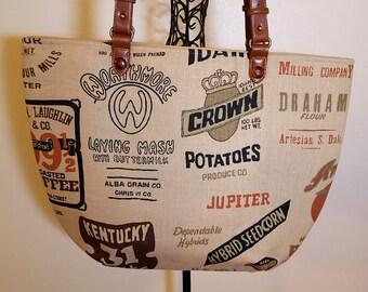Large Rustic Feedsack Bag Farmhouse Tote Handbag Purse Fabric Bag Brown Black Vintage Style Handmade