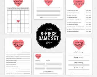INSTANT DOWNLOAD 6 Piece Bridal Shower Game Set (Lovely) - DIY, Printable, Customizable Heart Design