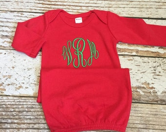 Monogrammed Christmas gown, newborn red and green outfit, baby Christmas pajamas