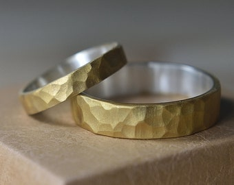Hammered Wedding Rings Set Gold Plated Silver. Hammered Wedding Bands His and Hers. Hammered Wedding Bands Set. Hammered Wedding Rings Set