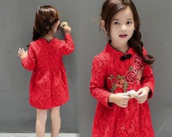 Ready for 2-3 Day Shipping! Red Floral Lace Cheongsam Fleece Dress for Kids Chinese New Year