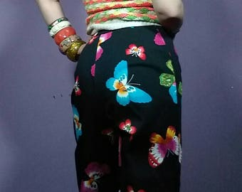 1990s Groovy Tropicalia Butterfly Capris