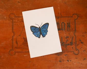 Dessin - Fine & original art - Papillon bleu crayon de couleur