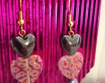 Pink and Black Hearts Earrings, Jewellery