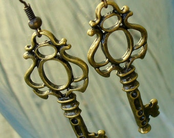 Steampunk Pirate Victorian CUTE KEY to your HEART earrings