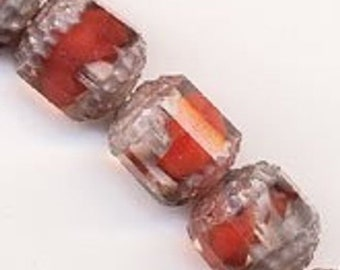 20% OFF Vintage rare givre glass cathedral Beads. 7 x 8mm. Pkg of 2. B11-rd-0862(e)
