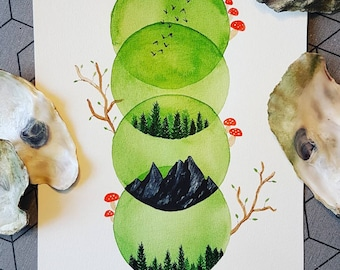 Original watercolor painting - Forest themed circles