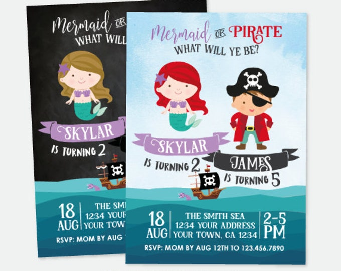 Mermaid and Pirate Invitation, Sibling Birthday Invitation, Under the Sea Birthday Party, Personalized Invitation, 2 options