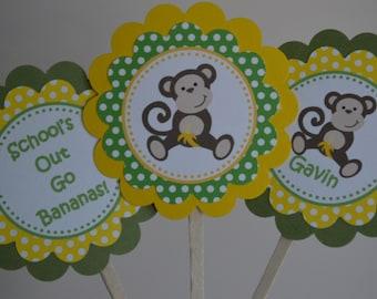 Monkey Theme - Graduation Cupcake Toppers - Congrats Grad  - Yellow and Green Polka Dots - Set of 12