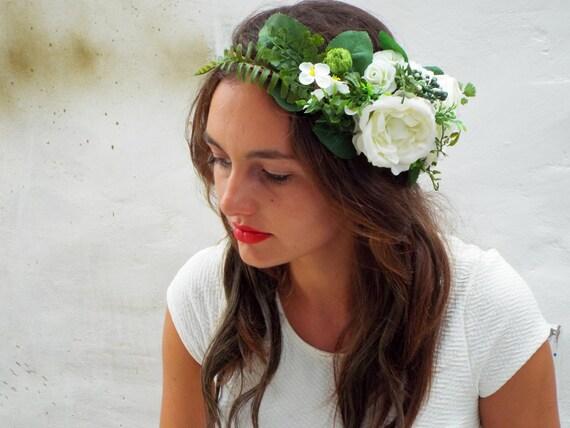 blanche couronne de fleurs accessoires cheveux de mariage. Black Bedroom Furniture Sets. Home Design Ideas