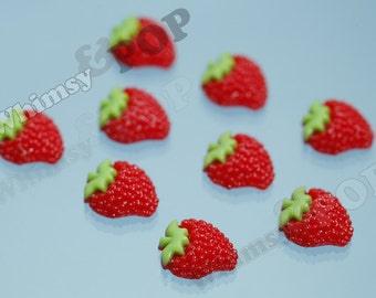 Strawberry Flatback Cabochons, Strawberry Cabochons, Kawaii Strawberries, 13mm (R5-229)