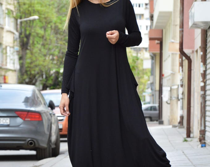 Black Cotton Jumpsuit With Zipper, Extravagant Long Sleeves Jumpsuit, Oversize Black Romper by SSDfashion