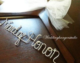 SALE single line Maid of Honor hanger / Wedding Hanger, Personalized Hanger, Bridesmaid Bride