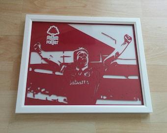 "Paper cut art of Nottingham Forest legend Psycho aka Stuart Pearce 10""x8"" framed 3D handmade paper cutting NFFC"