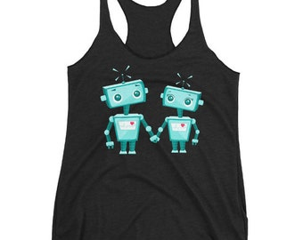 Robot Tank Top, Geek Tank, Women's Triblend Racerback, Geeky Tank Top, Robots In Love, Printed On Bella Canvas Tri Blend