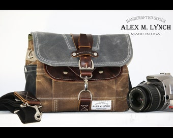 PETITE Waxed Canvas cross body Messenger bag - handmade - field tan + charcoal + leather accents 010027