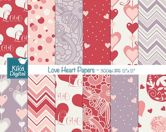 Valentines Hearts Digital Papers, Valentines Papers, Love Digital Scrapbook Paper in Red and Purple - INSTANT DOWNLOAD