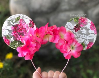 Floral lace Mickey ears | lace ears | lace Mickey ears | flower and garden Mickey ears| flower and garden ears | flower and garden festival