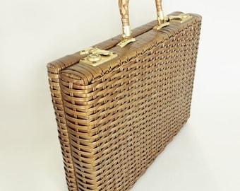 60s Brown Wicker Briefcase - Jem Handmade