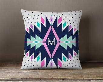 Throw Pillow, Pillow Cover,  Dorm Pillow Personalized Pillow, Monogram: Boho Thunder Two Choose Colors