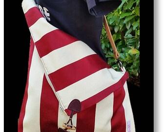 Bag shoulder Messenger bag purple lines-ivory