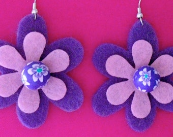 Groovy Grape Funky Felt Flowers Earrings