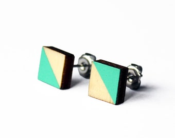 wooden earrings, square earrings, turquoise earrings, geometric stud, Gift for her, jewelry, minimalist earrings, hand painted, mint